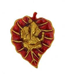 Lord Ganesha on Red Leaf