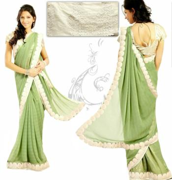 1bd4948560 Georgette Pista Green Saree - Haya Sarees - 21708