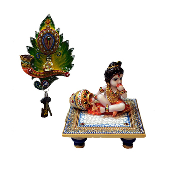 Combo of Laddu Gopal chowki and Laddu Gopal Key Holder