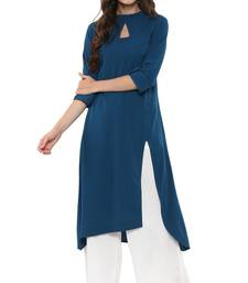 Buy Turquoise plain crepe kurtas-and-kurtis kurtas-and-kurti online