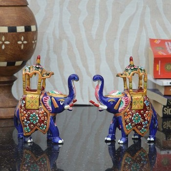 Combo of Meenakari Colorful Ambabari Elephant Statue