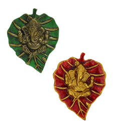 Buy Combo of Lord Ganesha on Green and Red Leaf wall-art online
