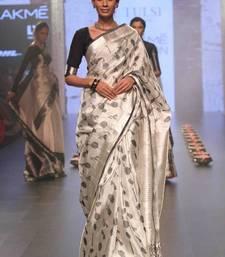 Buy Cream printed faux tussar silk saree with blouse tussar-silk-saree online