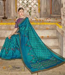 Buy Sky blue printed brasso saree with blouse brasso-saree online