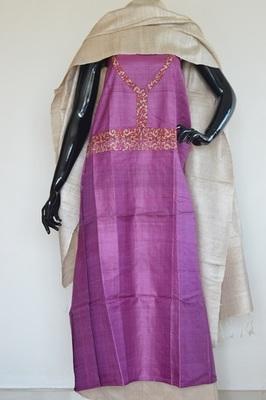 Pinkish Violet colour, Patch_work, Tussar silk, churidhar, party-wear-salwar-kameez