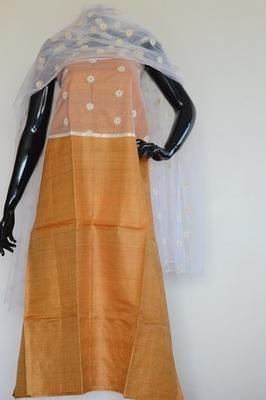 Yellow colour, Net patch work, Tussar silk, churidhar, silk+party-wear-salwar-kameez