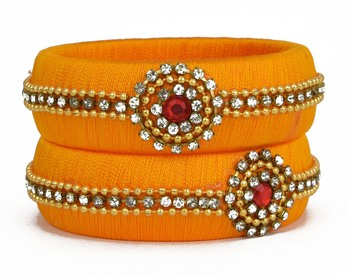 traditional yellow silk thread bangle set for women and girls  (2 pcs)