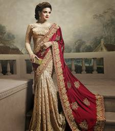 Buy Multicolor embroidered satin saree with blouse georgette-saree online