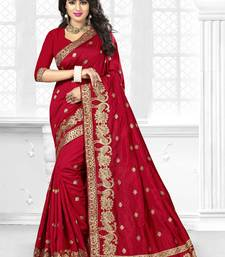 Buy Maroon embroidered art silk saree with blouse karwa-chauth-saree online