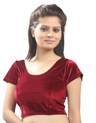 Maroon Velvet Stretchable Blouse. Size Xl.