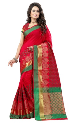 Red woven poly cotton saree with blouse