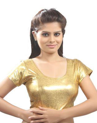 0398b1606117b6 Satin gold lycra Stretchable Blouse. Size xL. - muhenera s - 293755