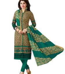 Buy Green printed cotton salwar with dupatta straight-suit online