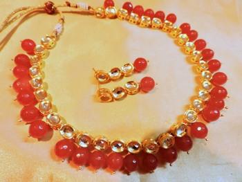reddish maroon  kundan and beads necklace