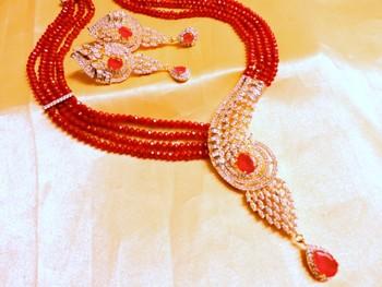 ruby cz royal pendant set in ruby mala