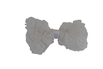 Vintage Rose hairbow (White )