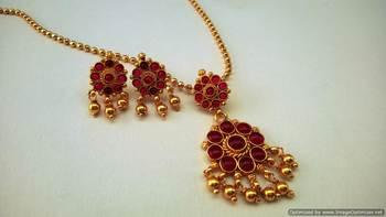 Red Kemp Stone Necklace Set Antique Style Short