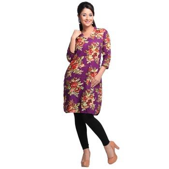 Purple Printed Cotton Stitched Kurti