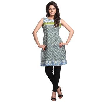 Green printed cotton stitched kurtas-and-kurtis