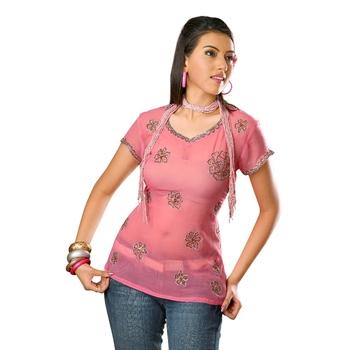 Pink printed georgette stitched kurtas-and-kurtis
