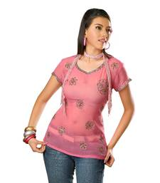 Pink Printed Georgette Stitched Kurti