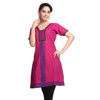 Multicolor Printed Cotton Stitched Kurti