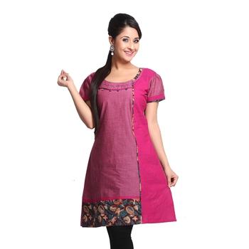 Pink Printed Cotton Stitched Kurti