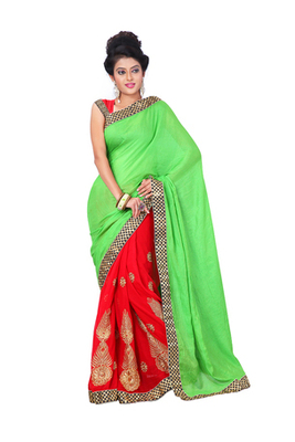 Red & Green Semi Chiffon Graceful Embroidered Sarees With Unstitched Blouse