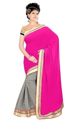 Pink Pure Viscose & Satin Chiffon Awesome Embroidered Sarees With Unstitched Blouse