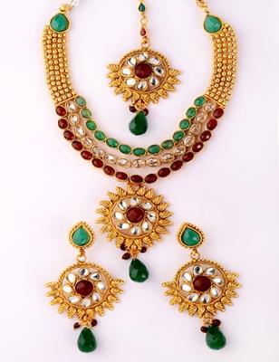 Precious Three Line Designer Necklace Set