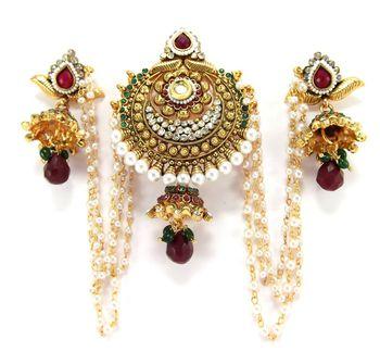 traditional style ruby emerald  bun pin earring