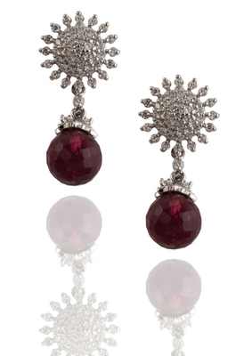 rhodium maroon earrings