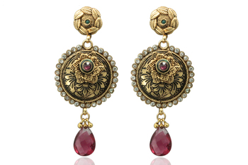 gold traditional earrings