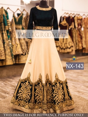 White embroidered georgette unstitched lehenga with dupatta