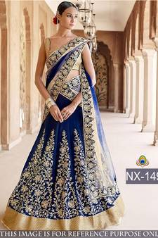 44 Off Blue Embroidered Silk Unsched Lehenga With Tta Online