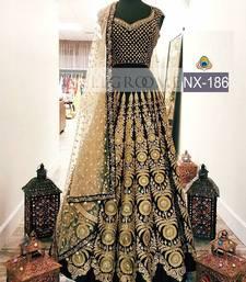 Buy Black embroidered net unstitched lehenga with dupatta lehenga online