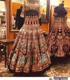 Buy Multicolor embroidered silk unstitched lehenga with dupatta lehenga online