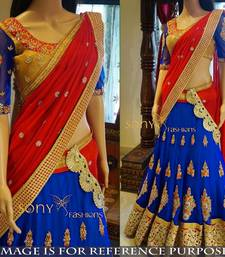 Buy Multicolor embroidered georgette unstitched lehenga with dupatta lehenga online