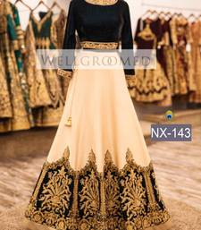 Buy White embroidered georgette unstitched lehenga with dupatta lehenga online