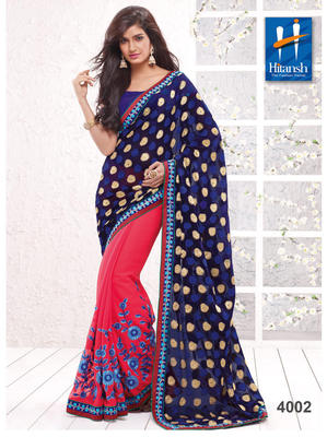 Red & Blue  thread work Chiffon Saree with blouse piece