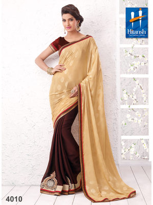 Maroon & Cream georgette patch Work Saree with blouse piece