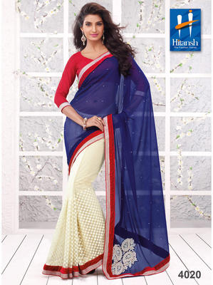 Blue & White Net embroidery work  Saree with blouse piece