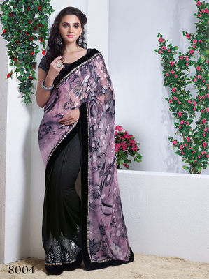 Black georgette  Embroidery Saree with blouse piece