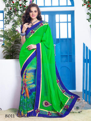 Green Georgette Emboidery Saree with blouse piece