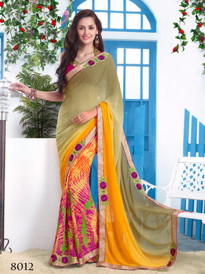Mulicolor Chiffon Patch Work Saree with blouse piece