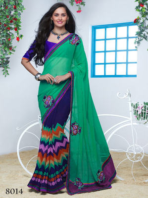 green & Blue  Georgette patch Work Saree with blouse piece