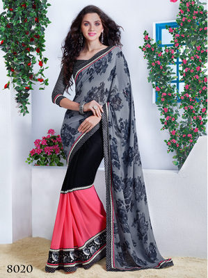 Black georgette Embroidery Work Saree with blouse piece