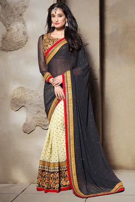 Cream and Black Georgette Saree with Art Silk Blouse