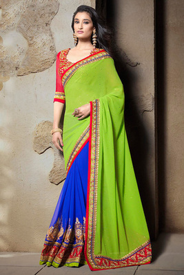 Blue and Green Georgette Saree with Red Embroidery Art Silk Blouse