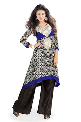 Black and Blue Georgette Velvet Kurti Comprising Embroidery Neck